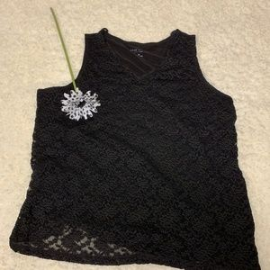 Tank top with lace overlay